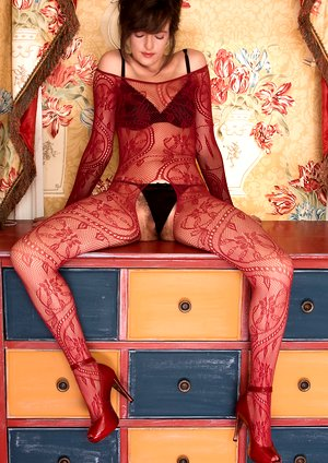 In her body stocking and lingerie Kate Anne strips
