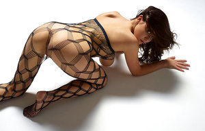Young model Marjana in body stocking