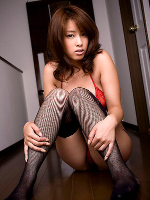 Ayaka Noda Asian in stockings shows generous assets in red bra