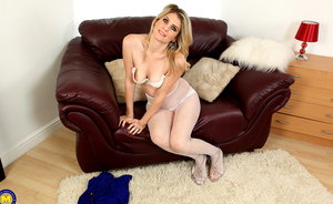 Horny British MILF Ashleigh playing with herself