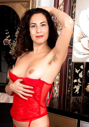 Liz strips naked in her red stockings and red dress